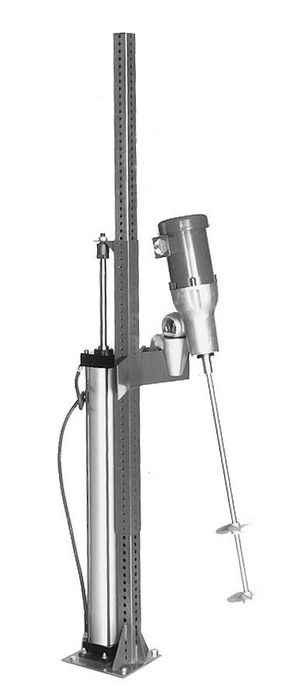 Industrial mixer lift stand pneumatic height from