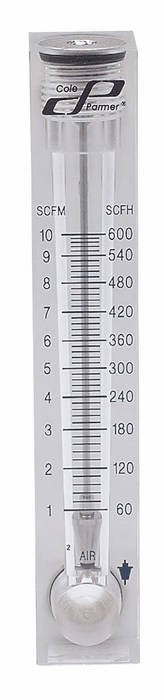 Cole-Parmer 1-10 LPM Acrylic Flowmeter 50 mm Scale for Air