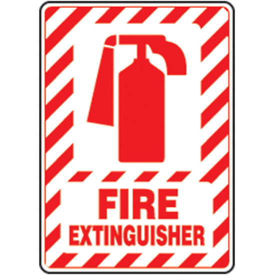 Safety Sign Fire Extinguisher Symbol 14 X 10 Aluminum From Davis
