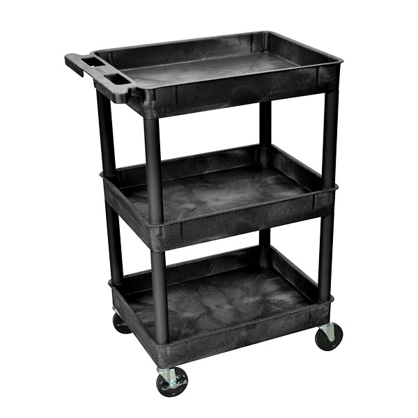 Tub Shelf Utility Cart with Two 2 3 4 Tub Shelves Black from Davis ...