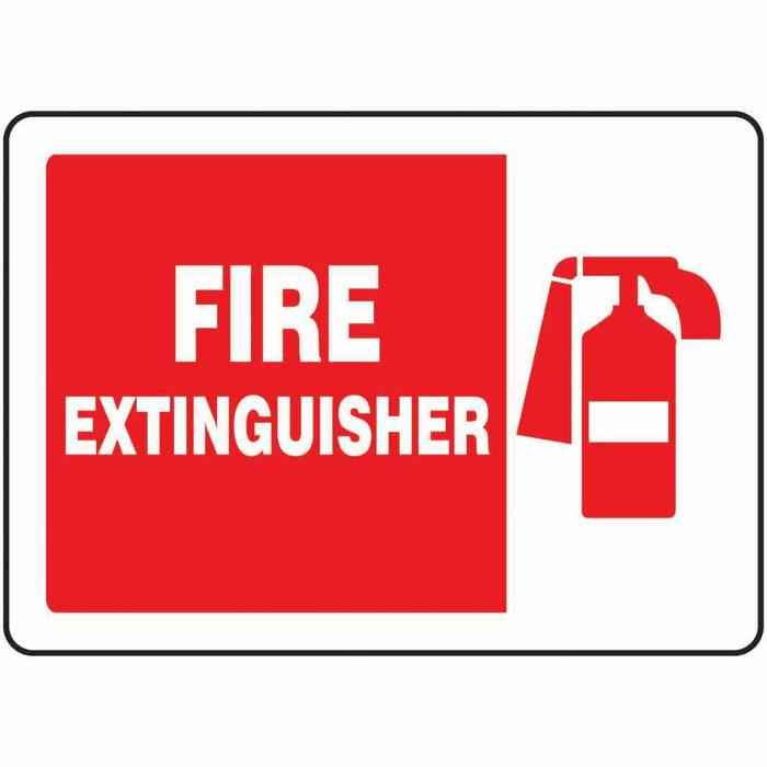 Safety Sign Fire Extinguisher Symbol 7 X 10 Aluminum From Davis