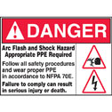 YX-40400-03 Arc Flash and Shock Hazard Appropriate PPE Required label ...