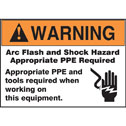 YX-40400-09 Warning Arc Flash and Shock Hazard Appropriate PPE