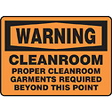 ACCUFORM SIGNS -  - Safety Sign Warning Cleanroom 10 x 14 Aluminum