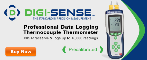 Digi-Sense Professional Data Logging Thermocouple Thermometer NIST-traceable and logs up to 18,000 readings